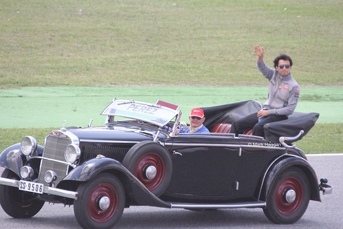 Sergio Perez in the Drivers' Parade at the 2013 Spanish Grand Prix