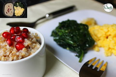 Pomegranate Oatmeal and Scrambled Eggs wSauteed Spinach (Chefs_Diet) Tags: food fruit breakfast pomegranate gourmet oatmeal foodies foodporn eggs delivery diet weightloss weight spinach foodie nutrition dieting foodphotography diets foodstyling chefsdiet containertoplate