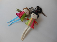 Handmade doll key charm (Cristali Designs) Tags: girls keychain key dolls handmade crafts fabric scrap handmadedolls keyfob charmpurse cristali