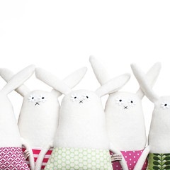 Bunnies! (The Original Poosac) Tags: cute rabbit bunny vintage toy doll pattern handmade stripe plush softie plushie etsy polkadot poosac