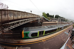 London Midland Commuter at Lichfield (Steve J O'Brien) Tags: train canon commuter 8mm lichfield electrictrain primelens samyang