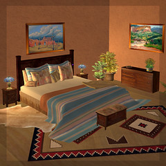 Desert Morning Bed (Teal Freenote) Tags: bed virtual southwestern tealfreenote inworldz windriverfurniture
