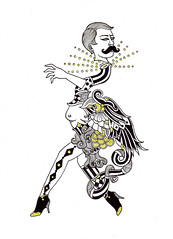 Without a Cage (M. de Vena) Tags: white colour male art female illustration night ink hair paper print death gold costume wings artwork eyes artist pattern drawing feather diamond fantasy heels imagination illustrator symbols ornate creature imaginary gender afterlife anthropomorphic fecalface mdevena humanhydra wwwhumanhydracom