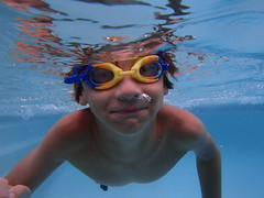 Water Bug (Shelby's Trail) Tags: blue water pool face swimming happy goggles grandson eightdaysaweek twtme cmwdblue