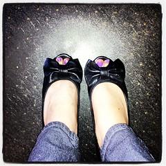 Loving my #shoes ❤ (yourladyluck24) Tags: black cute love feet me girl foot shoe shoes toes paint pretty purple random nails bow heels nailpolish ig iphone blackbow purplenailpolish iphoneography instagram instagramapp 24catty