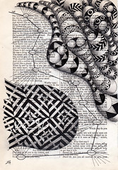 Flesh is Power (Jo in NZ) Tags: blackandwhite pattern drawing foundtext foundpoetry zentangle nzjo zendoodle