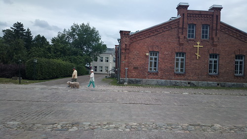Walking the dog past the orthodox rectory inside Lappeenranta fortress