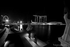 the Helix and ArtScience Museum taken from Esplanade Outdoor Theatre (dpermana) Tags: museum night canon singapore esplanade helix dickypermana
