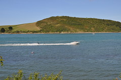 Camel Estuary, Padstow (Gina Lessiter) Tags: uk sea sky water grass boat cornwall hill bluesky hillside skier jetboat cameltrail