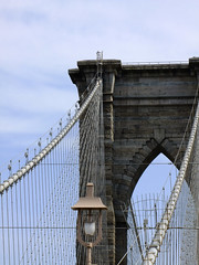 (Shane Henderson) Tags: newyorkcity bridge light newyork lamp architecture streetlight manhattan lamppost cables wires brooklynbridge lowermanhattan bridgepier