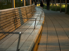 Benchs (blklablucy) Tags: wood city newyorkcity light shadow ny newyork lines bench high bokeh patterns line simple highline