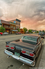 IMGP4253-Edit-2 (Matt_Burt) Tags: street old sunset sky color reflection classic car town colorado shiny main small stormy fairlane gunnison