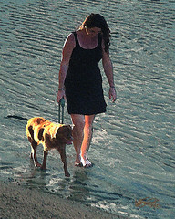 walking the dog 9 (Bill Sargent) Tags: ocean family autumn light sunset shadow portrait people woman dog painterly art beach water girl animal female digital photomanipulation photoshop manipulated canon painting studio ma photography photo image walk capecod massachusetts digitalart newengland digitalpainting photograph figure impressionism cape cod imagemanipulation impressionist sargent walkingthedog coldbrook manipulatedimage digitalartpainting coldbrookstudio