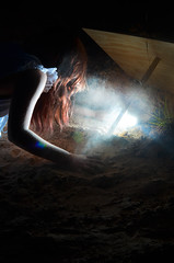 trap (Elise Weber) Tags: door blue light orange art alex sarah night kyle dark glow elise earth surreal dirt ann conceptual thompson trap weber stoddard loreth