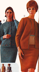 Sears 68 fw two suits (jsbuttons) Tags: blue clothing 60s buttons sears womens catalog 1968 sixties 68 skirtsuit vintagefashion buttonfront
