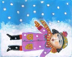 """SNOW GAZING"" SOLD toronto (kitty jujube) Tags: original winter snow art illustration fun folk small acrylicpaint outsiderfolk sandifitzgerald"