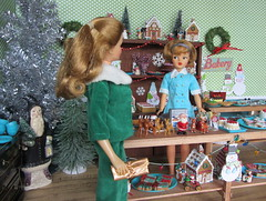 (14) Christmas at the Bakery (Foxy Belle) Tags: santa christmas wood holiday green scale cookies cake shop misty vintage wrapping paper fur restaurant miniature uniform doll elizabeth play counter floor witch ooak hard stevens barbie tammy velvet suit bakery pies nurse 16 samantha collar rement diorama dollhouse christamas bewitched montgomary dollikin