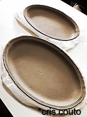 Pratos ovais.... Cashimier.. (cris couto 73) Tags: ceramic handmade stamp cermica clay paisley argila criscouto