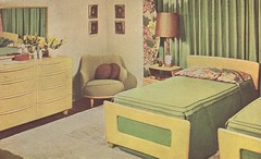 New Creative Home Decorating 1946 (tikitacky) Tags: modern vintage bedroom framed interior chartreuse blonde 50s char decor midcentury dogbone heywoodwakefield barkcloth