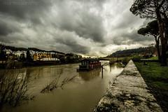 Tiber river (Rome, Italy) (MartinaD) Tags: italy rome roma river boat italia flood cloudy tiber
