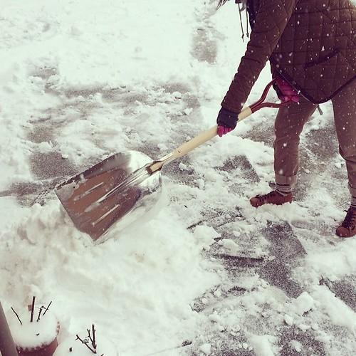 戸建は雪かきをしないと村八分になります! 去年の成人の日のあとに買った雪かきスコップか日の目を見た。(^人^)