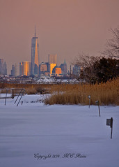 Freedom Tower & NYC Skyline Winterscape Sunset (Dusk) from Richard DeKorte Park (Meadowlands), Lyndhurst, NJ (takegoro) Tags: york winter sunset snow ice nature skyline skyscrapers dusk wetlands marsh winterscape new city jersey tower manhattan freedom golden magic richarddekortepark meadowlands nj hour lyndhurst