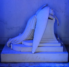Metairire Cemetery (JohnLH Photo) Tags: blue sculpture cemetery angel catchycolors sad neworleans nola weeping metairiecemetery weepingangel nikond5200