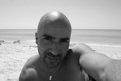 Respite From A Brutal Winter (Flint Foto Factory) Tags: county city winter urban bw sun white selfportrait black chevrolet beach me water saint st emblem neck island march spring sand waves shine treasure florida petersburg joe camaro chain springbreak chevy pinellas selfie 2014 respite