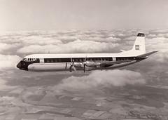 BEA Vanguard G-APEB in flight, v early 1960's (Proplinerman) Tags: bea aircraft airliner turboprop vanguard 1960 vickers propliner britisheuropeanairways gapeb