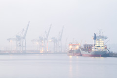 Hamburg Harbor (Tobias Mnch) Tags: sky industry port germany harbor ships hamburg cranes