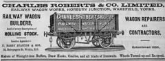 Charles Roberts wagons ad 1896 (Pitheadgear) Tags: kohle steam mining coal railways locomotives wagons charbon puits steampower steamlocomotives shunters railwaywagons coalwagons