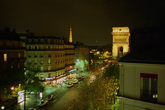 Night view from Paris hotel, 1997 (Ian E. Abbott) Tags: paris nightshot citylights arcdetriomphe afterdark parisfrance parisatnight parisnight parisstreets avenuedewagram parislights htelplazaetoile