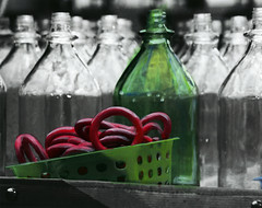 Painted Bottle (Alyssa_Morton) Tags: life blue red blackandwhite bw white black green up yellow closeup photoshop dark grey photo bottle still cu basket close painted rings stillife highlight edit brish