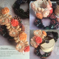 Beaded roses chunky bracelet. I still got it, back to work on jewelry. A new color am loving Corral. #beadwork #resinrose (ExoticDesigns) Tags: rose beads resin beadwork