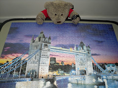 It's s'posed to glow in the dark! (pefkosmad) Tags: bear uk bridge sunset england italy ted building london towerbridge toy evening stuffed soft teddy fluffy hobby plush puzzle leisure jigsaw riverthames pastime 1000pieces clementoni tedricstudmuffin fluorescentcollection