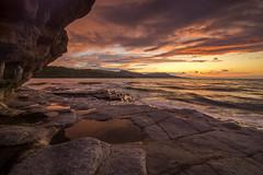 Chaos (AnderD3100) Tags: atardecer mar agua playa nubes naranja olas rocas oceano charco