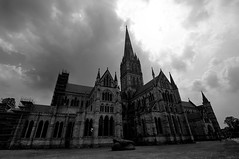 Salisbury Cathedral (Crisp-13) Tags: sky cloud white black window monochrome wall angle cathedral wide spire salisbury wiltshire hdr