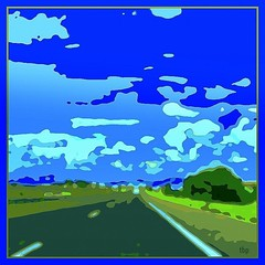road trip (milomingo) Tags: road blue sky cloud newmexico green art texture square landscape outdoor grain frame concept photoart posterized photoborder a~i~a