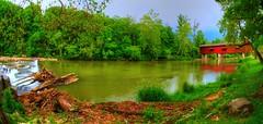 Country State Of Mind (Phyllis74) Tags: statepark park bridge nature water creek waterfall state outdoor indiana covered coveredbridge serene cloverdale millcreek eelcreek cataractstatepark lensbabycircularfisheye