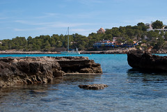 Swimming between the Rocks (Tim Cunningham's Images) Tags: sea beach boats spain rocks ibiza balearics portinatx