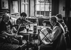 Traditional Irish folk band. (ian.emerson36) Tags: ireland music irish blackwhite pub folk live traditional band belfast instruments mchughs
