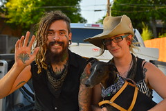 Donnie, Tasha, and Rollo (radargeek) Tags: musician dog tattoo piercing okc oklahomacity plazadistrict