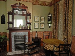 An 1890's period drawing room, The Geffrye museum of the home. Hoxton, East London (Linda 2409) Tags: mirror fireplace hearth