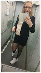 Short buissniess meeting with the tenant. #transgirl (magdalena_m) Tags: woman stockings glasses feminine makeup swedish pearls nike transgender nails tranny blonde transvestite trans nikeair mtf maletofemale transgirl sneakersandtights