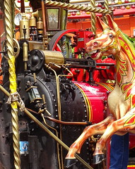 Day out at Beamish Museum - steam-powered galloper (Snapshooter46) Tags: carousel merrygoround openairmuseum dayout countydurham steampowered beamishmuseum gallopers