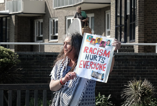 Racism hurts everyone - A lone Dover resident bravely leaves her home to confront a right wing anti-immigrant march along the city