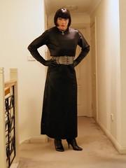 Black Encounter (2) (Furre Ausse) Tags: black leather belt dress boots skirt gloves satin dominant governess