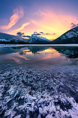 Vermilion Lakes, Banff - Alberta, Canada (Damien Seidel) Tags: travel winter sky canada reflection ice yellow sunrise rockymountains mountrundle banffnationalpark vermilionlakes