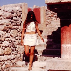 In the Ruins (fillzees) Tags: street woman girl stone wall ancient ruins outdoor candid steps skirt palace tourist greece stepping crete column miniskirt midriff knossos antiquity