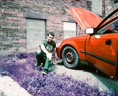 David (Lomochrome Purple 100-400) (Nick Spadaro) Tags: red 120 film car lomography purple pentax saratoga medium format 67 lomochrome